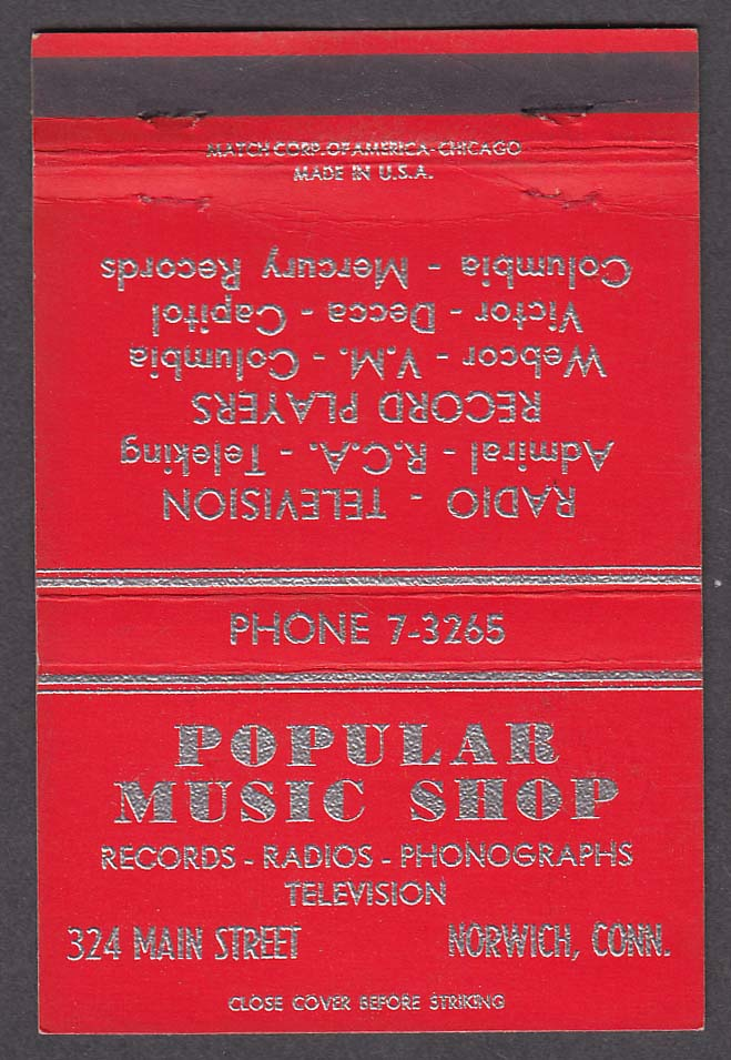 Popular Music Shop 324 Main St Norwich St red matchcover
