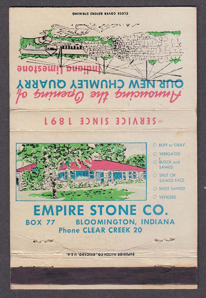 Chumley Quarry Empire Stone Co Bloomington IN matchcover