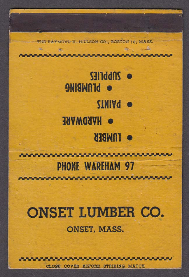 Onset Lumber Co Onset MA matchcover