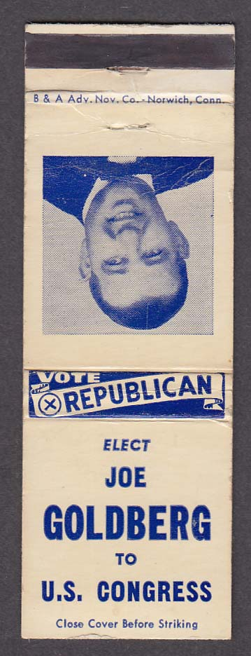 Vote Republican Elect Joe Goldberg to US Congress matchcover