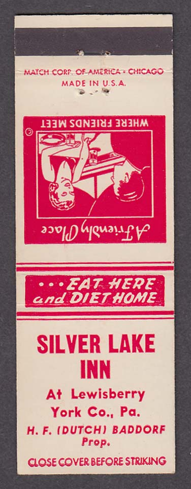 Silver Lake Inn Lewisberry York Co PA matchcover