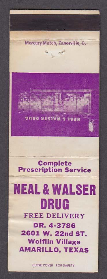 Neal & Walser Drug 2601 W 22nd St Wolflin Village Amarillo TX matchcover