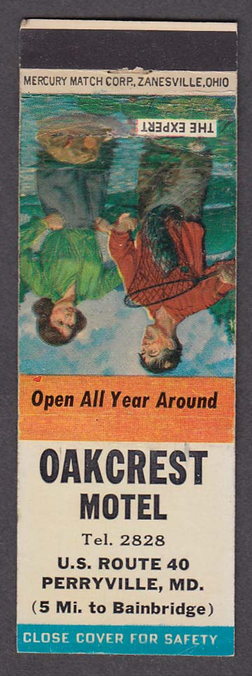 Oakcrest Motel US Route 40 Perryville MD matchcover