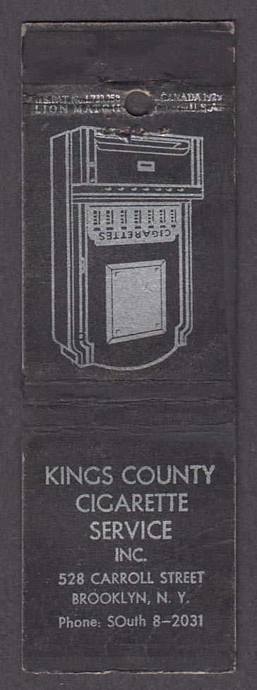 Kings County Cigarette Service Inc 528 Carroll St Brooklyn NY matchcover