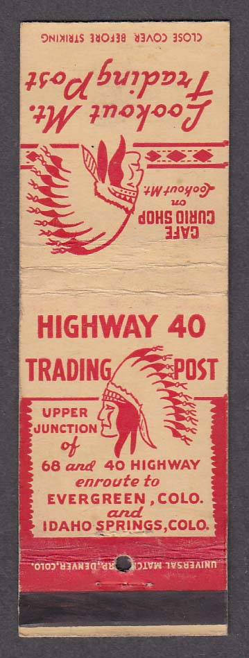 Highway 40 Trading Post Evergreen Idaho Springs CO matchcover