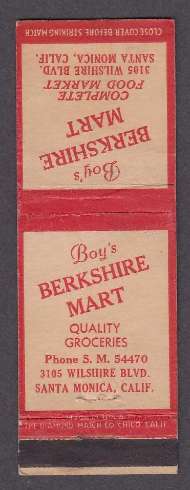 Boy's Berkshire Mart 3105 Wilshire Blvd Santa Monica CA matchcover