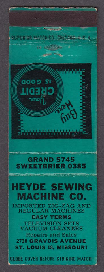 Heyde Sewing Machine Co 40 Gravois Ave St Louis MO Matchcover Cool Heyde Sewing Machine