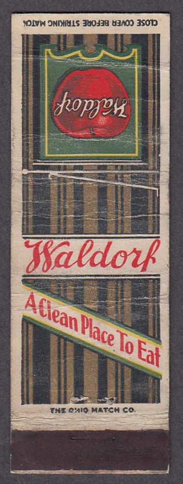 Waldorf A Clean Place to Eat matchcover