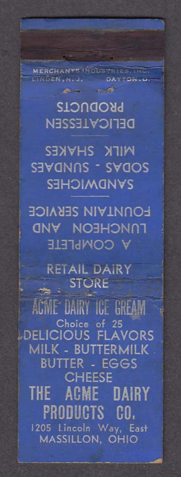 Acme Dairy Products Co 1205 Lincoln Way East Massillon OH matchcover