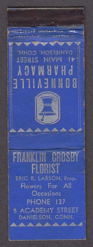 Bonneville Pharmacy Franklin Crosby Florist Danielson CT matchcover