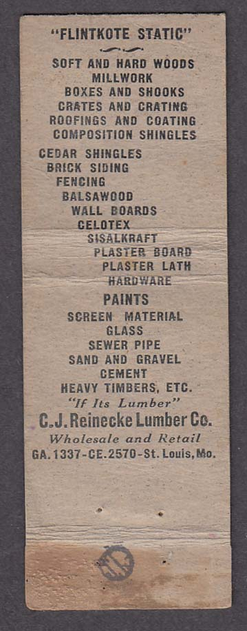Flintkote Static Products C J Reinecke Lumber Co St Louis MO matchcover