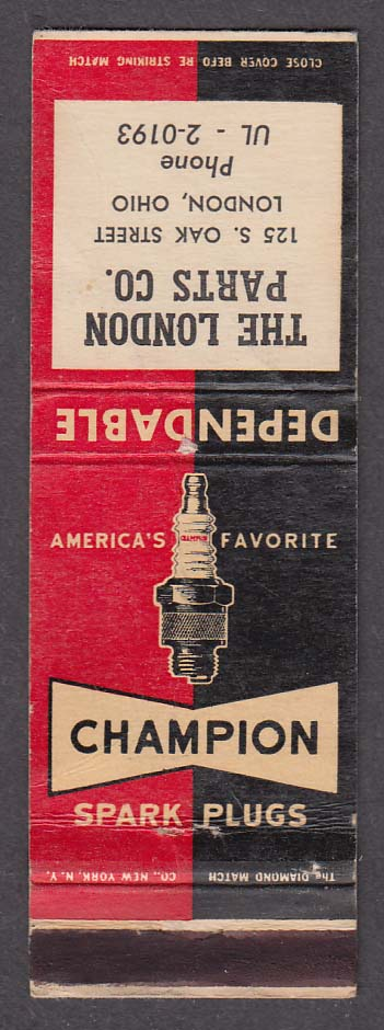 The London Parts Co 125 S Oak St London OH Champion Spark Plugs matchcover