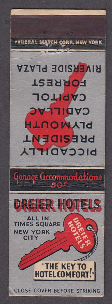 Dreier Hotels Times Square New York NY matchcover