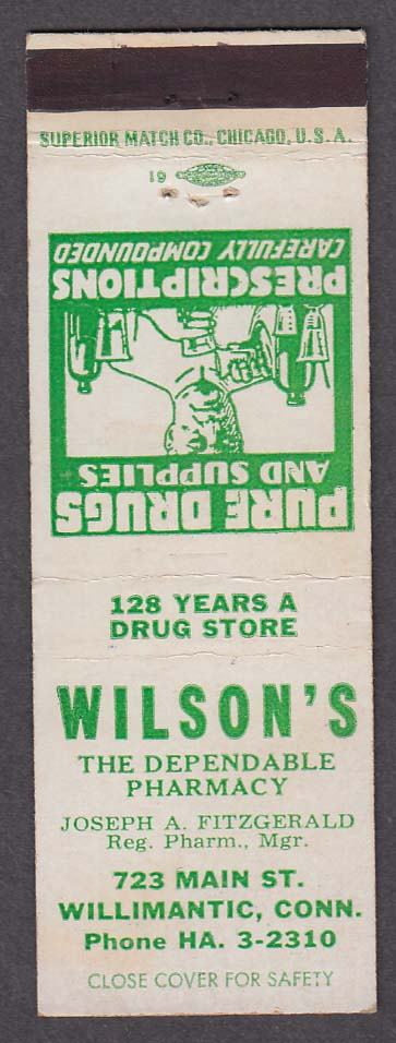 Wilson's Dependable Pharmacy 723 Main St Willimantic CT matchcover