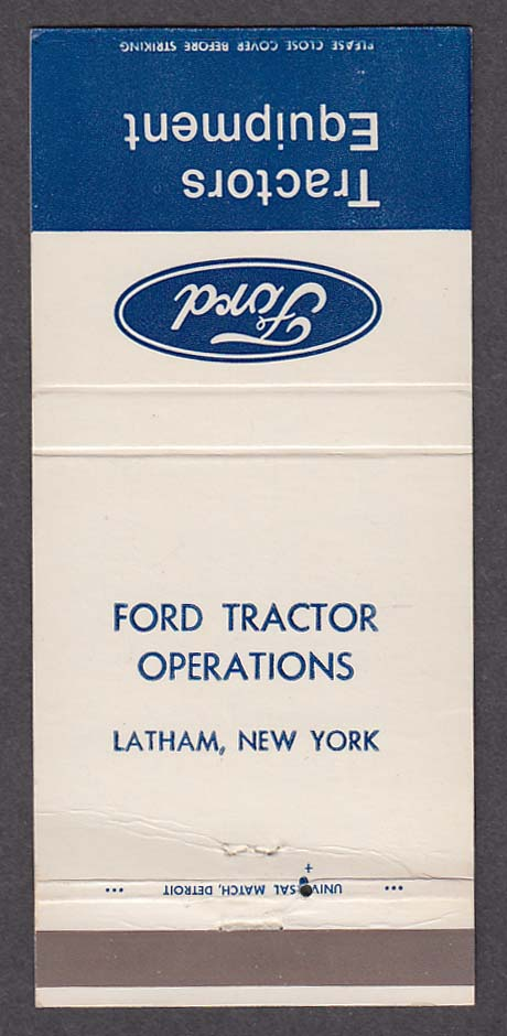 Ford Equipment Tractor Operations Latham NY matchcover