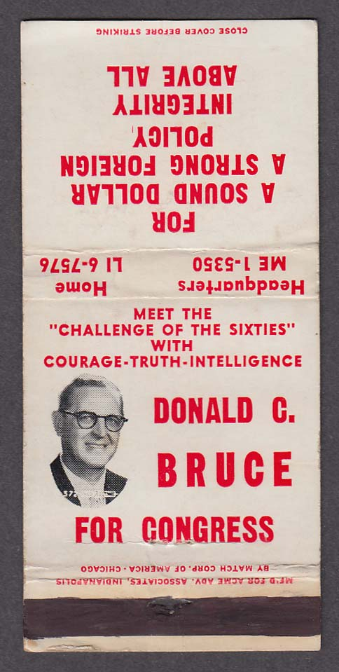 Donald C Bruce for Congress matchcover