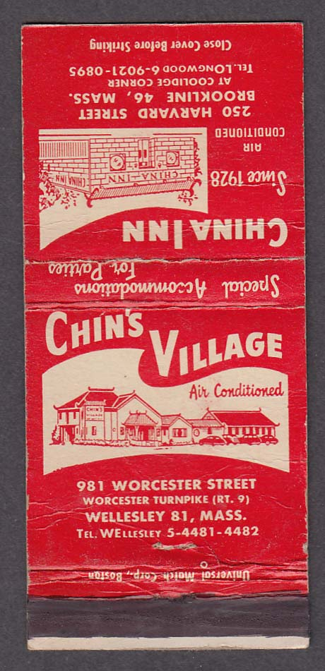 Chin's Village 981 Worcester Wellesley China Inn Brookline MA matchcover