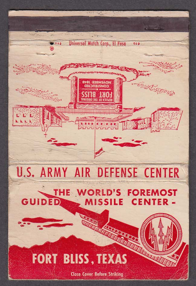 US Army Air Defense Guided Missile Center Fort Bliss TX matchcover