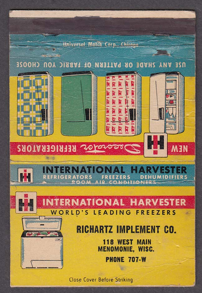 International Harvester Freezers Richartz Implement Co Menomonie WI matchcover