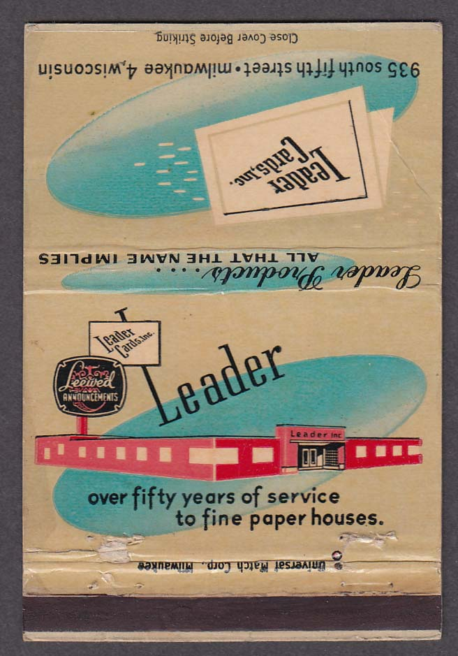 Leader Cards Inc 935 South Fifth Street Milwaukee WI matchcover