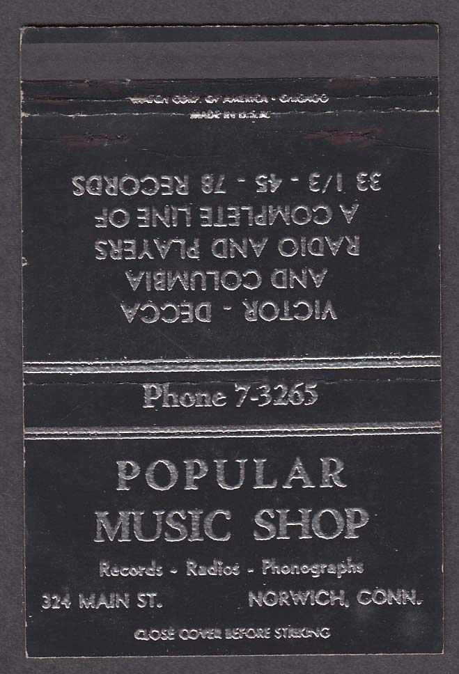 Popular Music Shop 324 Main St Norwich CT black matchcover