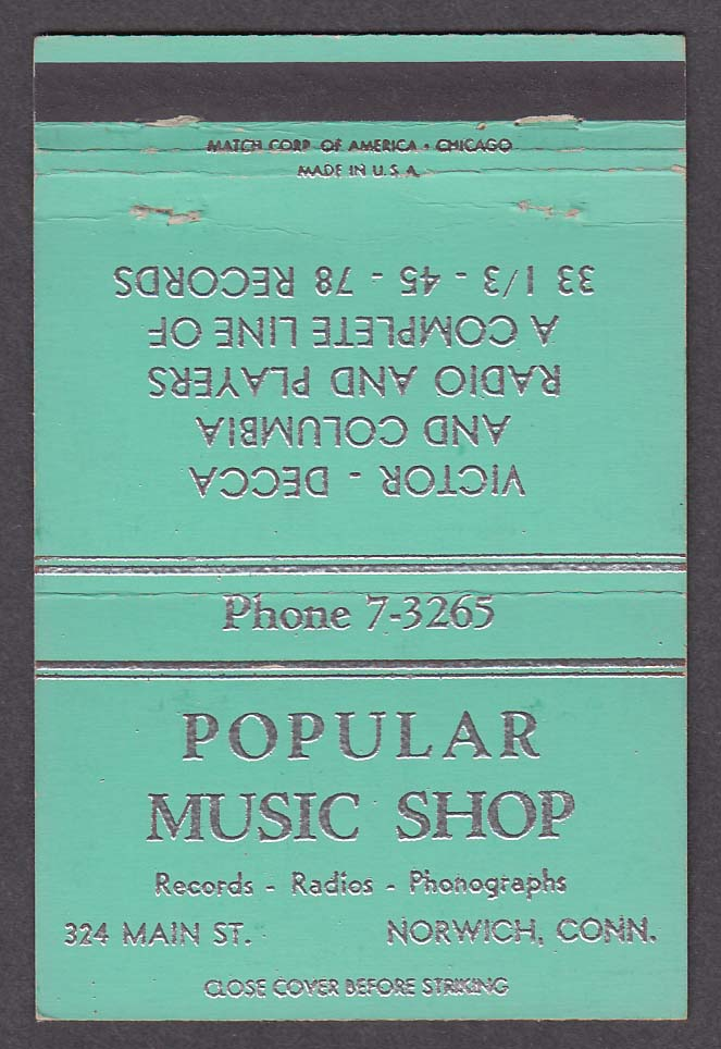 Popular Music Shop 324 Main St Norwich CT light blue matchcover