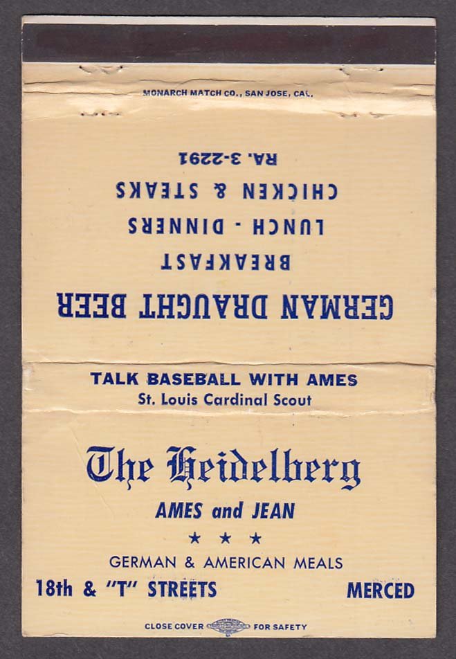 The Heidelberg Ames & Jean German Draught Beer matchcover