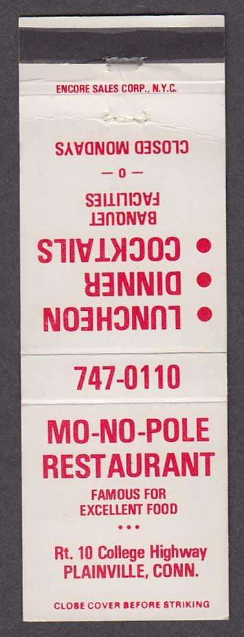 Mo-No-Pole Restaurant Plainville CT matchcover