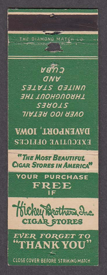 Hickey Brothers Inc Cigar Stores Executive Offices Davenport IA matchcover