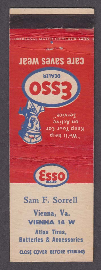 Sam F Sorrell Esso Dealer Vienna VA Atlas Tires matchcover
