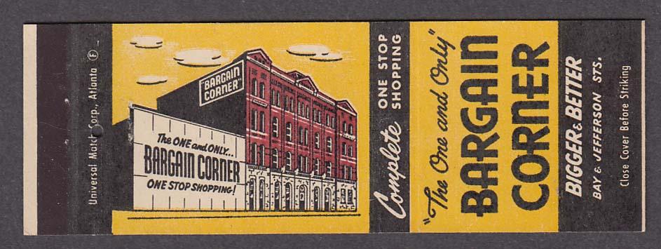 Bargain Corner Bay & Jefferson St Savannah GA matchcover