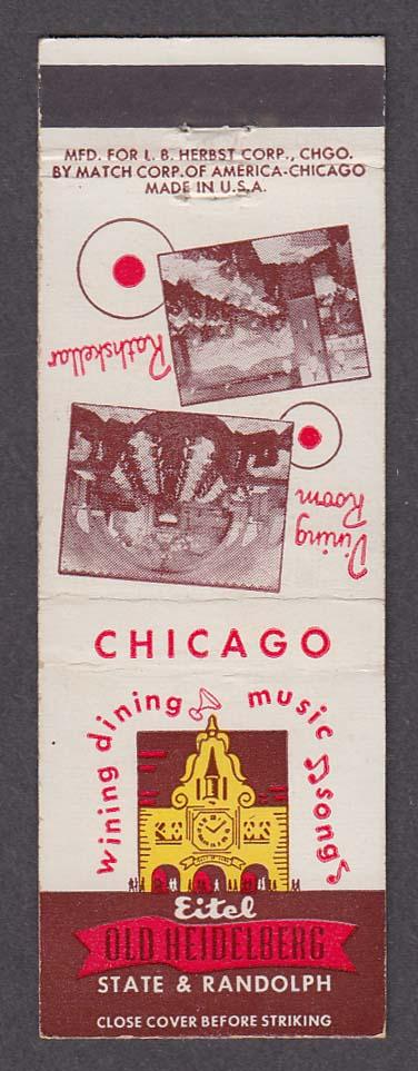 Eitel Old Heidelberg Hotel Rathskellar State & Randoph Chicago IL matchcover