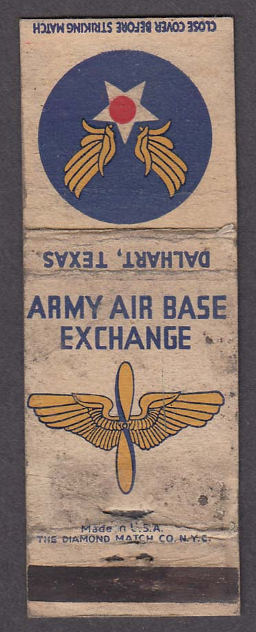 Army Air Base Exchange Dalhart TX matchcover