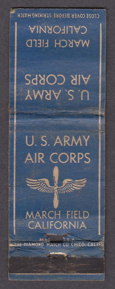 US Army Air Corps March Field CA matchcover