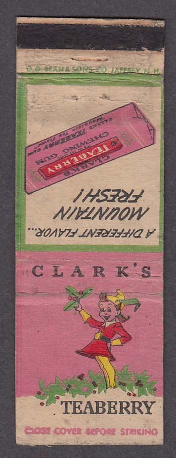 Clark's Teaberry Chewing Gum matchcover