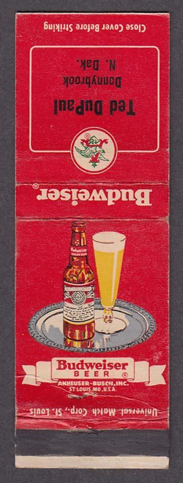 Ted DuPaul Donnybrook ND Budweiser Beer matchcover