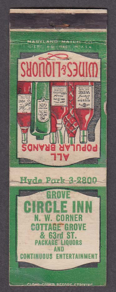 Grove Circle Inn Cottage Grove & 63rd St Chicago IL matchcover