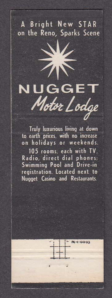 Nugget Motor Lodge Casino Sparks NV matchcover