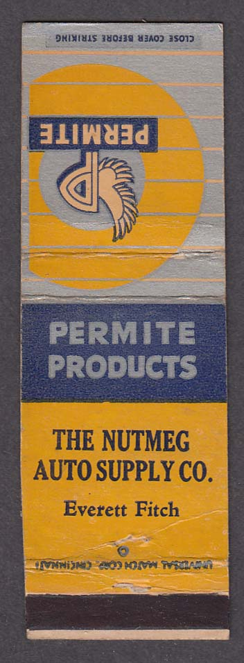 Permite Products The Nutmeg Auto Supply Co Everett Fitch matchcover