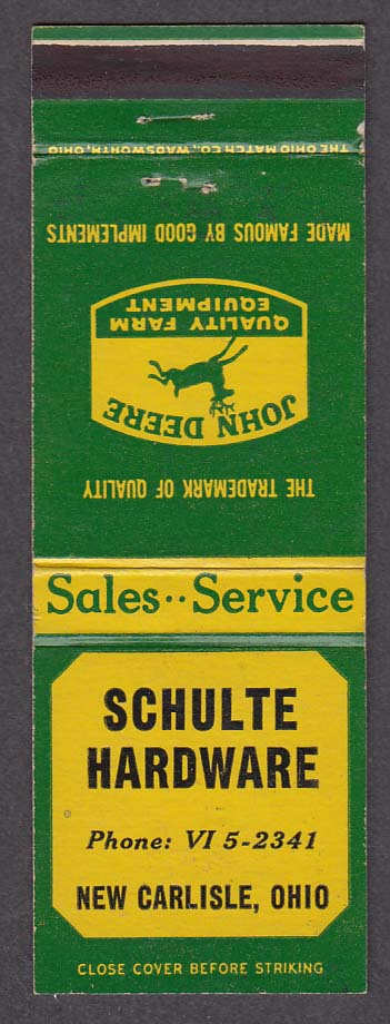 Schulte Hardware New Carlisle OH John Deere Farm Equipment matchcover