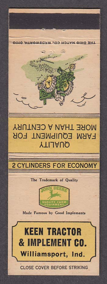 Keen Tractor & Implement Co Williamsport IN John Deere Tractors matchcover