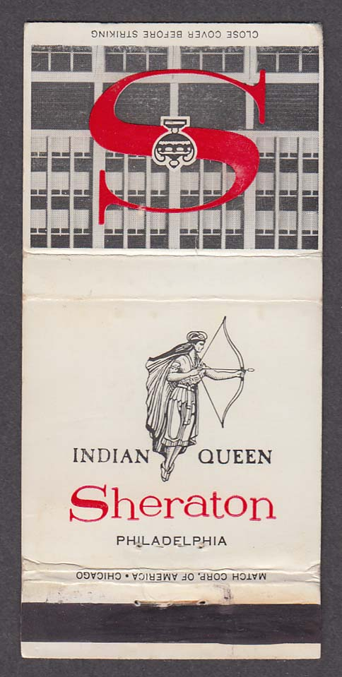 Indian Queen Sheraton Hotel Philadelphia PA matchcover