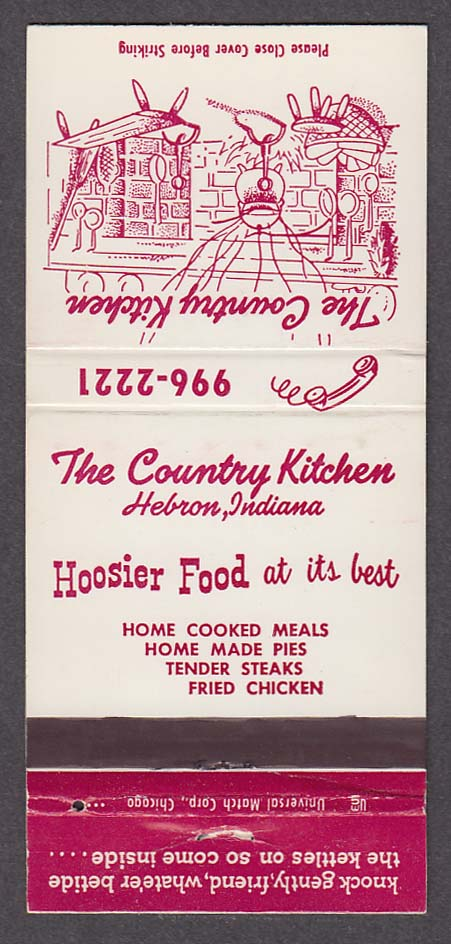 The Country Kitchen Hebron IN Hoosier Food matchcover