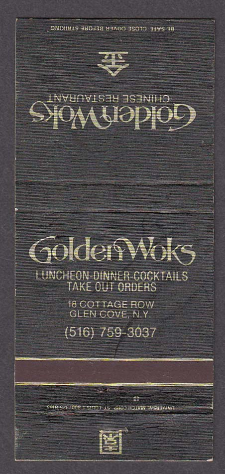 Golden Woks Chinese Restaurant 18 Cottage Row Glen Cove NY matchcover