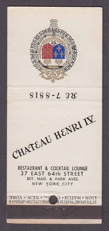 Chateau Henri IV Restaurant & Cocktail Lounge 37 E 64th New York NY matchcover