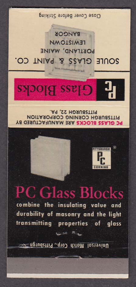 PC Glass Blocks Soule Glass & Paint Co Portland ME matchcover