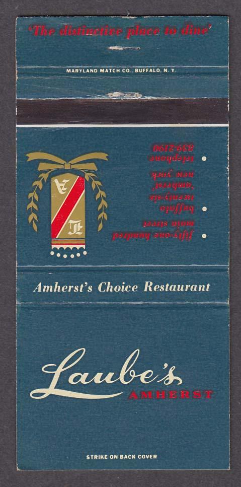 Laube's Amherst Restaurant matchcover
