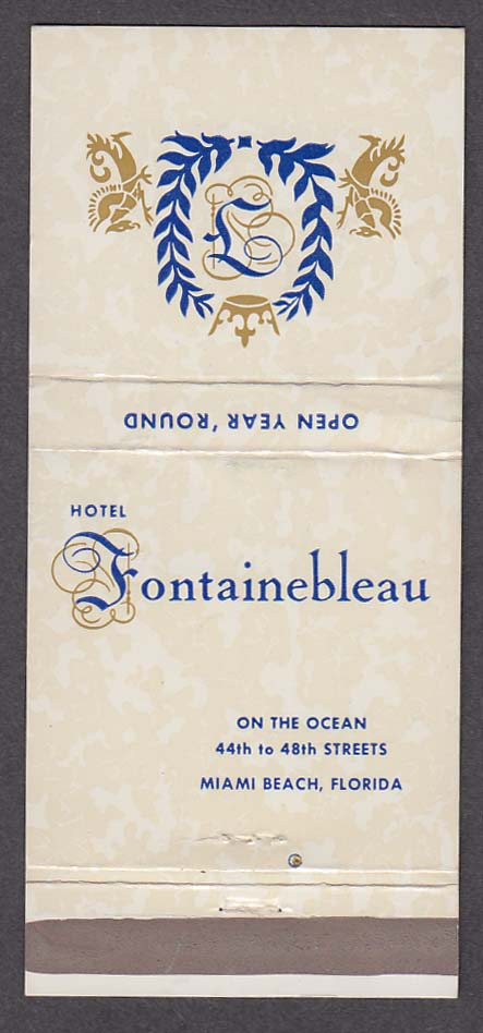 Hotel Fontainebleau on the Ocean Miami Beach FL matchcover