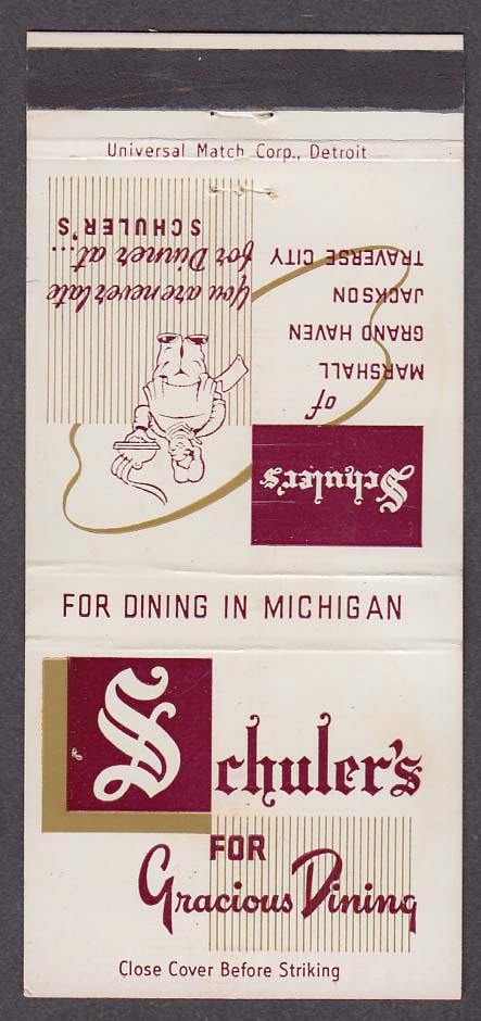 Schuler's Gracious Dining in Michigan matchcover