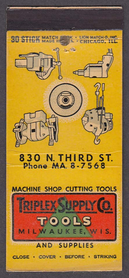 Triplex Supply Co Tools & Supplies 830 Third St Milwaukee WI matchcover